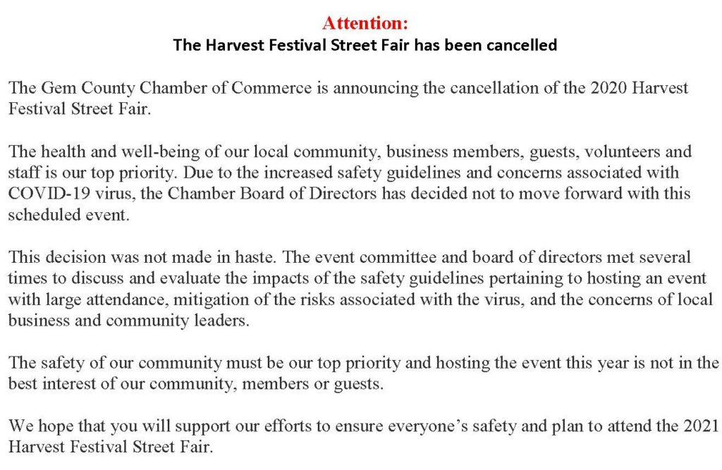 Harvest Festival Street Fair Cancelled kcw edit