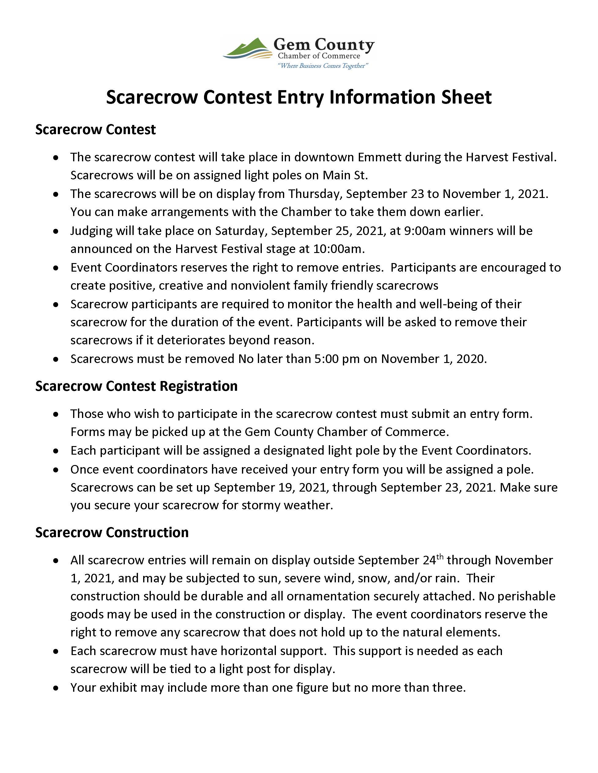 Scarecrow Contest Rules Final